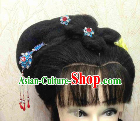 Chinese Ancient Princess Tassel Hairpins Traditional Beijing Opera Diva Hair Accessories and Wigs for Adults