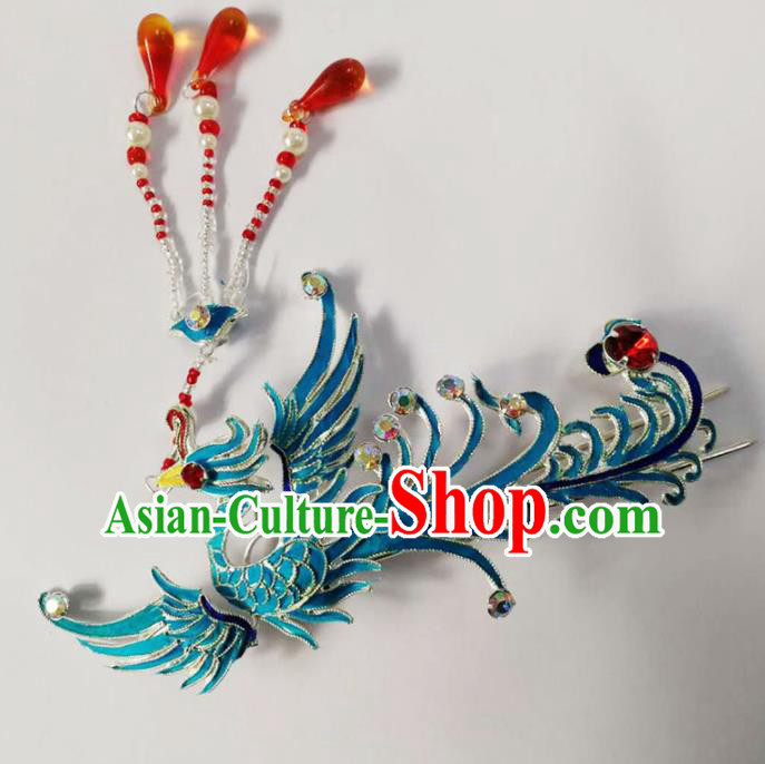 Chinese Ancient Princess Phoenix Tassel Hairpins Traditional Beijing Opera Diva Hair Accessories for Adults