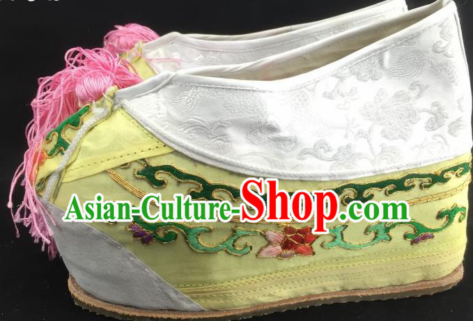 Chinese Ancient Court Princess Yellow Hanfu Shoes Traditional Beijing Opera Diva Embroidered Shoes for Adults