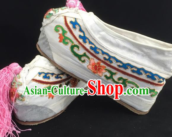 Chinese Ancient Court Princess White Hanfu Shoes Traditional Beijing Opera Diva Embroidered Shoes for Adults