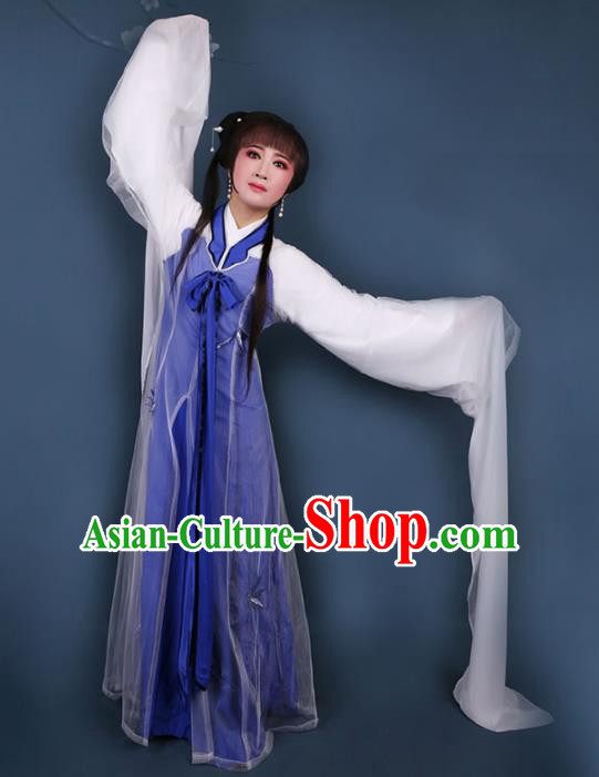 Chinese Traditional Opera Water Sleeve Blue Dress Ancient Beijing Opera Diva Embroidered Costume for Women