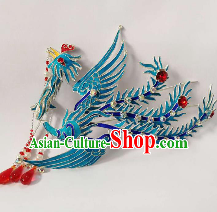 Chinese Ancient Princess Tassel Phoenix Hairpins Traditional Beijing Opera Diva Headwear Hair Accessories for Adults