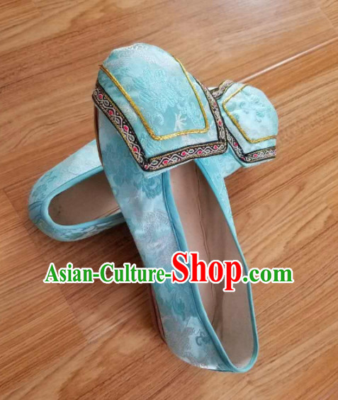 Chinese Ancient Princess Hanfu Embroidered Shoes Traditional Beijing Opera Diva Blue Satin Shoes for Adults