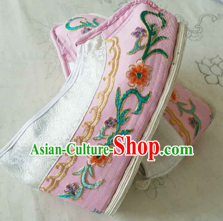 Chinese Ancient Princess Hanfu Embroidered Shoes Traditional Beijing Opera Diva Pink Blood Stained Shoes for Adults