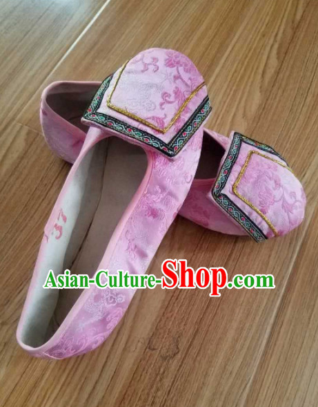 Chinese Ancient Princess Hanfu Embroidered Shoes Traditional Beijing Opera Diva Pink Satin Shoes for Adults