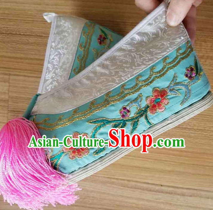 Chinese Ancient Princess Hanfu Embroidered Shoes Traditional Beijing Opera Diva Green Blood Stained Shoes for Adults