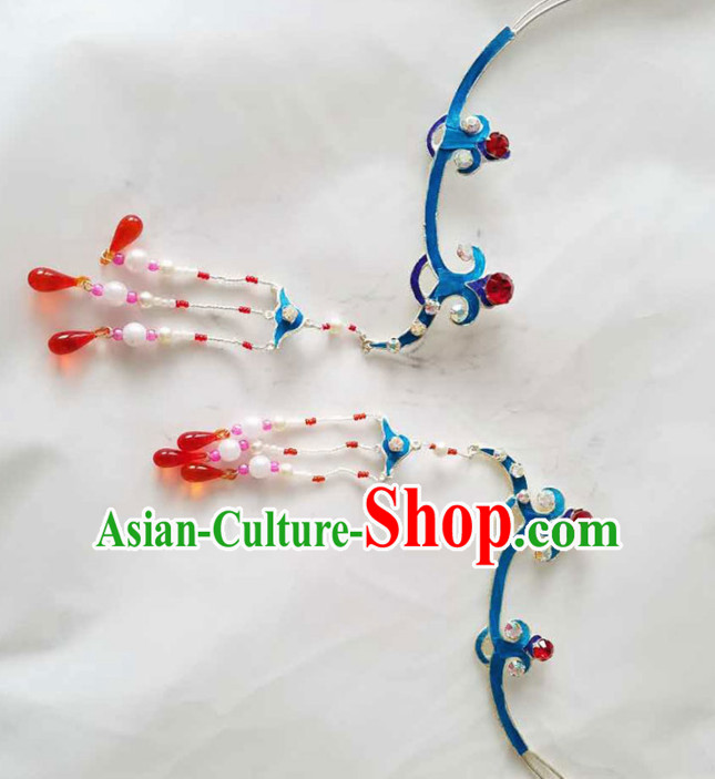 Chinese Ancient Princess Tassel Hairpins Traditional Beijing Opera Diva Court Hair Accessories for Adults