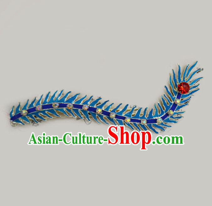 Chinese Ancient Princess Pteris Hairpins Traditional Beijing Opera Diva Court Hair Accessories for Adults