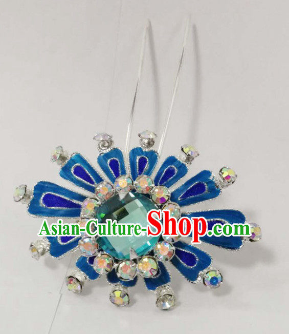 Chinese Ancient Princess Blue Crystal Hairpins Traditional Beijing Opera Diva Court Hair Accessories for Adults
