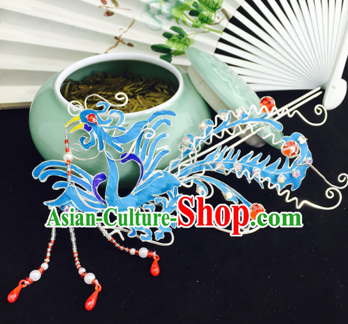 Chinese Ancient Princess Hairpins Phoenix Hair Clip Traditional Beijing Opera Diva Court Hair Accessories for Adults
