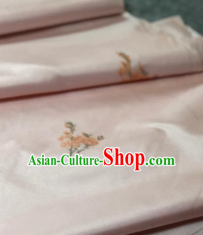 Traditional Chinese Silk Fabric Classical Embroidered Pattern Design Pink Brocade Fabric Asian Satin Material