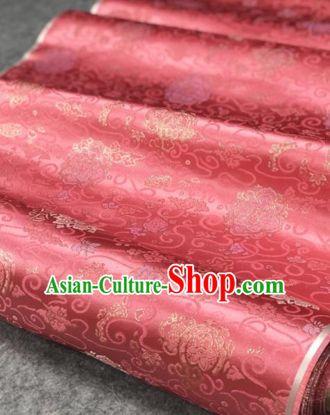 Traditional Chinese Silk Fabric Classical Pattern Design Pink Brocade Fabric Asian Satin Material