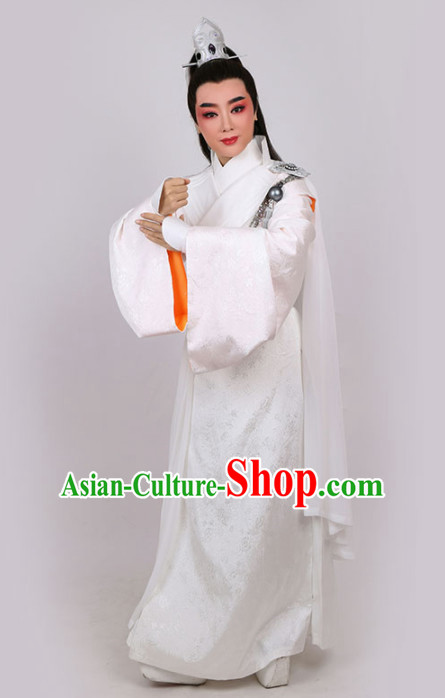 Chinese Traditional Beijing Opera Niche White Robe Ancient Swordsman Costume for Men