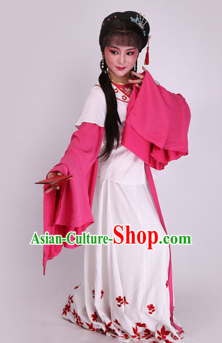 Chinese Traditional Peking Opera Diva White Dress Ancient Court Maid Embroidered Costume for Women