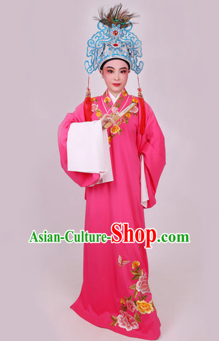 Chinese Traditional Beijing Opera Niche Scholar Embroidered Rosy Robe Ancient Nobility Childe Costume for Men
