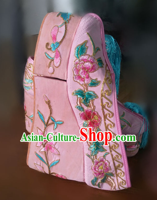 Chinese Traditional Beijing Opera Diva Pink Shoes Ancient Princess Hanfu Embroidered Shoes for Adults