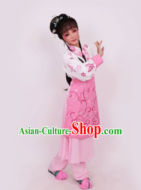 Chinese Traditional Peking Opera Maidservants Pink Dress Ancient Court Maid Embroidered Costume for Women