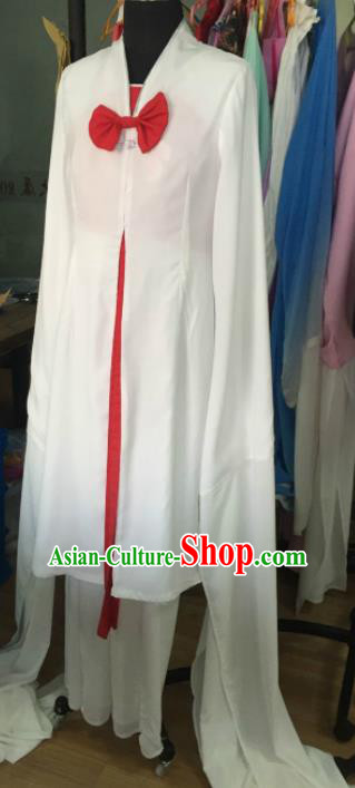 Chinese Traditional Opera Court Lady White Dress Ancient Beijing Opera Diva Embroidered Costume for Women