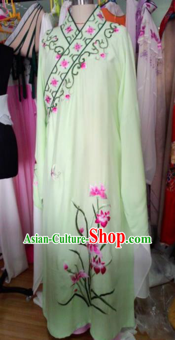 Chinese Traditional Beijing Opera Niche Green Robe Ancient Scholar Nobility Childe Embroidered Orchid Costume for Men