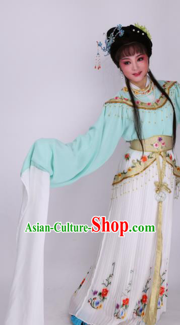 Chinese Traditional Opera Imperial Consort Green Dress Ancient Beijing Opera Diva Embroidered Costume for Women