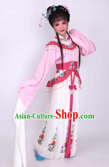 Chinese Traditional Opera Peri Pink Dress Ancient Beijing Opera Diva Embroidered Costume for Women