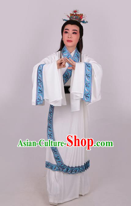 Chinese Traditional Beijing Opera Niche Jia Baoyu White Robe Ancient Scholar Nobility Childe Costume for Men