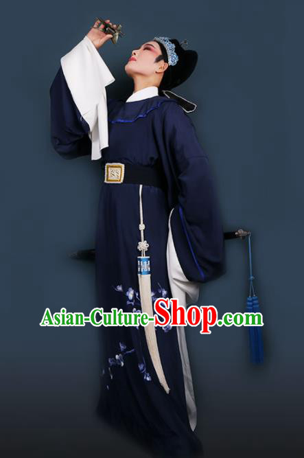 Chinese Traditional Beijing Opera Niche Navy Robe Ancient Scholar Nobility Childe Costume for Men