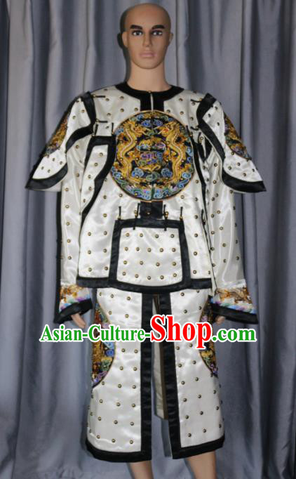 Chinese Traditional White Costume Ancient Qing Dynasty Manchu General Helmet and Body Armour for Men