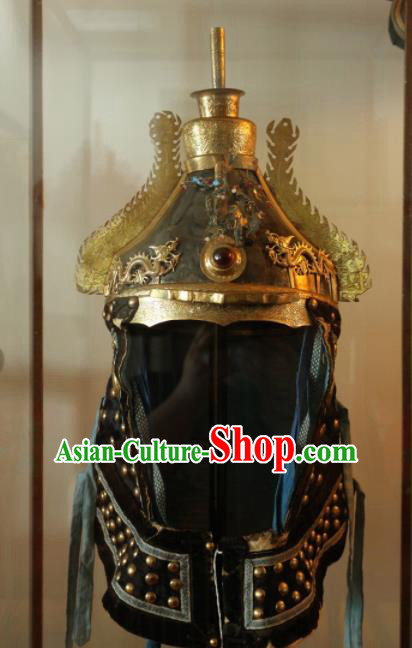 Chinese Ancient Drama Manchu General Helmet Traditional Qing Dynasty Minister Headwear for Men