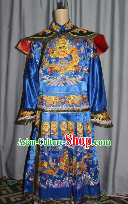 Chinese Traditional Drama Manchu Blue Costume Ancient Qing Dynasty Emperor Imperial Robe for Men