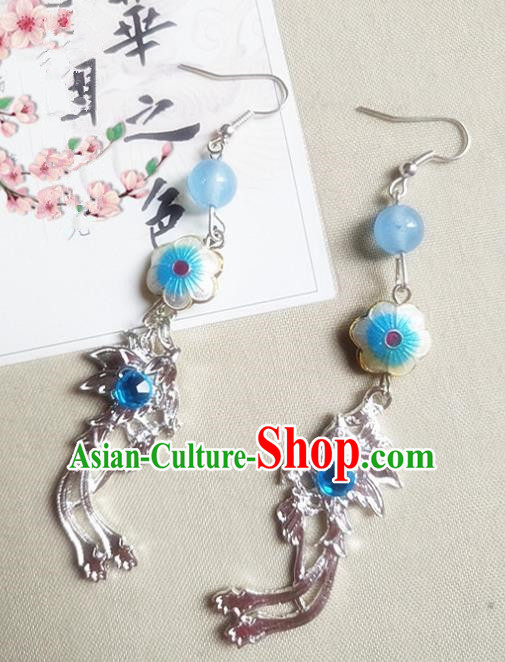 Chinese Ancient Princess Cloisonne Blue Earrings Traditional Hanfu Palace Jewelry Accessories for Women