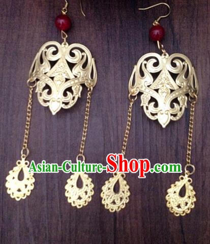 Chinese Ancient Princess Tassel Golden Earrings Traditional Hanfu Palace Jewelry Accessories for Women