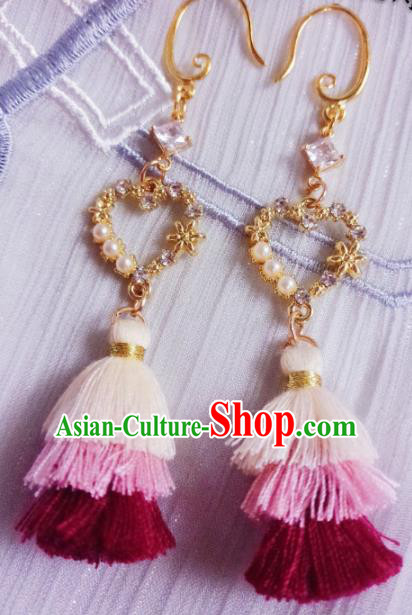 Chinese Ancient Palace Princess Earrings Traditional Hanfu Jewelry Accessories for Women