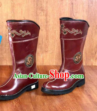 Traditional Chinese Mongol Nationality Red Shoes Mongolian Minority Folk Dance Leather Boots for Men