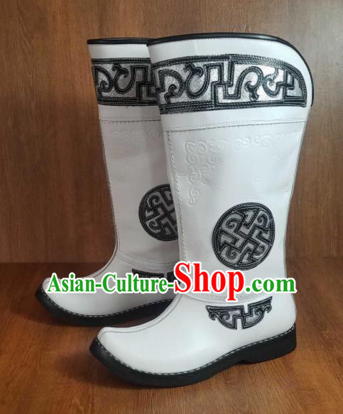 Traditional Chinese Mongol Nationality White Leather Boots Mongolian Minority Folk Dance Shoes for Men
