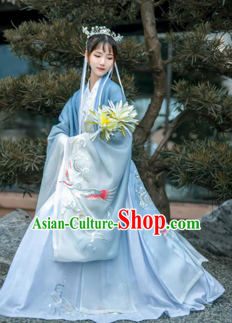 Chinese Traditional Court Princess Hanfu Dress Ancient Jin Dynasty Embroidered Historical Costume for Women