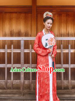 Chinese Ancient Song Dynasty Rich Lady Replica Costume Traditional Dowager Hanfu Dress for Women