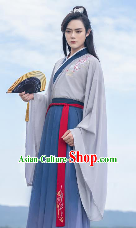 Chinese Traditional Scholar Swordsman Hanfu Clothing Ancient Jin Dynasty Nobility Childe Embroidered Historical Costume for Men