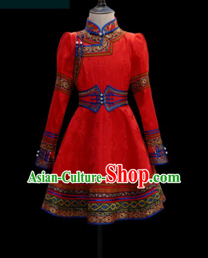 Traditional Chinese Mongol Ethnic Red Dress Mongolian Minority Folk Dance Clothing for Kids