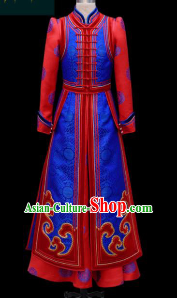 Traditional Chinese Mongol Ethnic Bride Royalblue Dress Mongolian Minority Folk Dance Embroidered Costume for Women