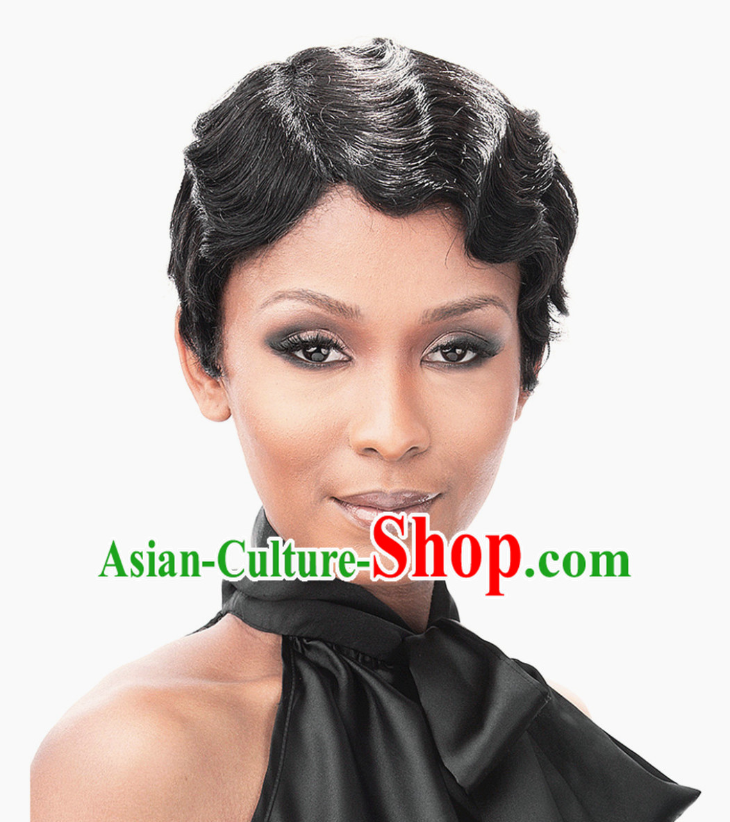 China Old Shanghai Style Black Wig Asian Wigs for Women