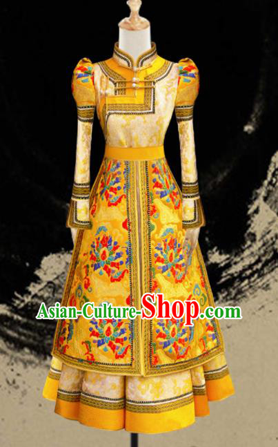 Traditional Chinese Mongol Ethnic Bride Golden Dress Mongolian Minority Folk Dance Embroidered Costume for Women