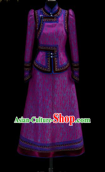 Traditional Chinese Mongol Ethnic Wedding Purple Dress Mongolian Minority Folk Dance Costume for Women