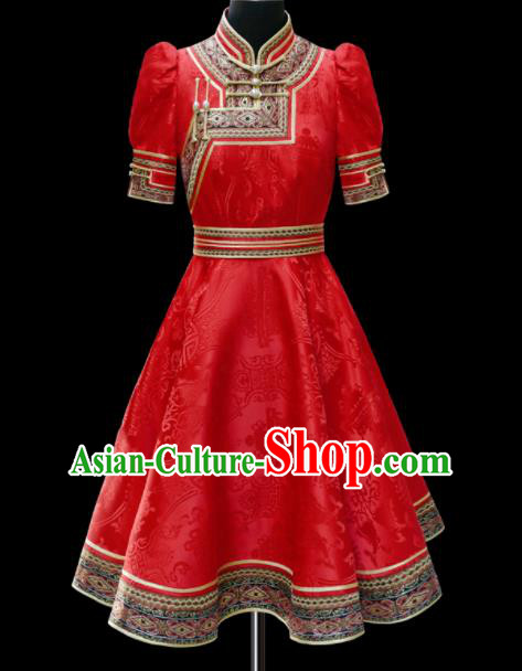 Traditional Chinese Mongol Ethnic National Red Brocade Dress Mongolian Minority Folk Dance Costume for Women
