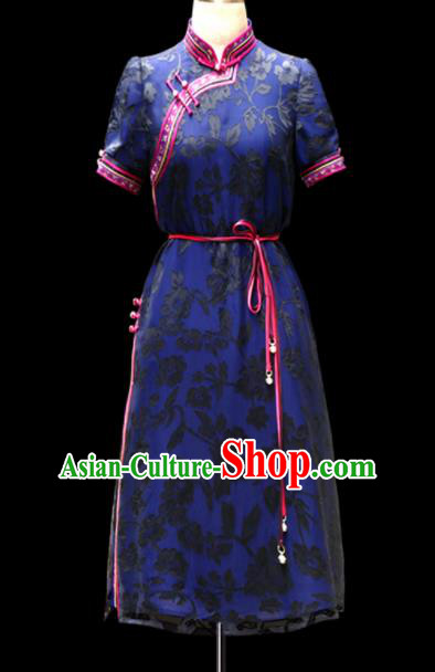 Traditional Chinese Mongol Ethnic National Blue Lace Dress Mongolian Minority Folk Dance Costume for Women