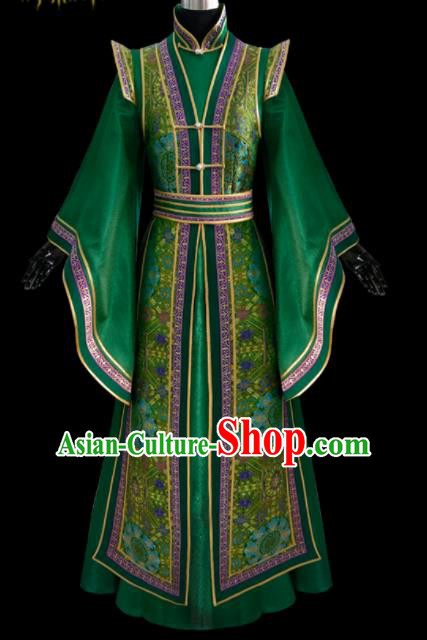 Traditional Chinese Mongol Ethnic National Green Brocade Dress Mongolian Minority Folk Dance Costume for Women