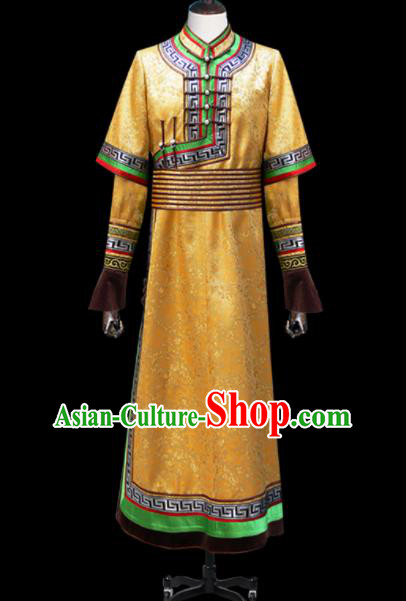 Chinese Traditional Mongol Ethnic National Golden Brocade Robe Mongolian Minority Folk Dance Costume for Men