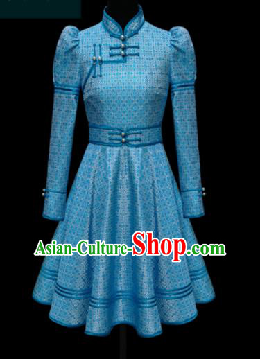 Traditional Chinese Mongol Ethnic Blue Dress Mongolian Minority Folk Dance Embroidered Costume for Women