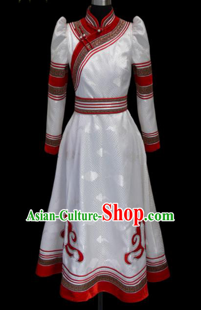 Traditional Chinese Mongol Ethnic National White Brocade Dress Mongolian Minority Folk Dance Costume for Women