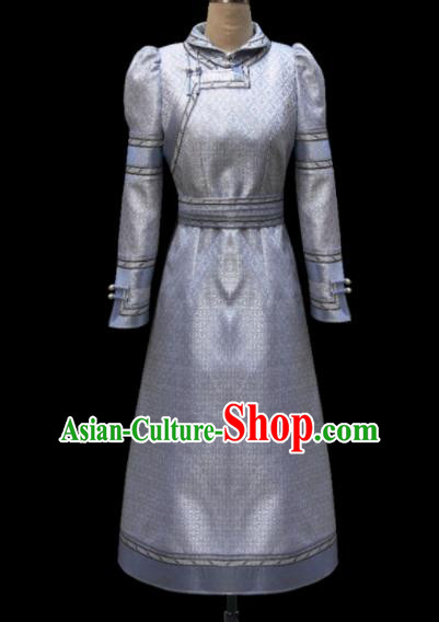 Traditional Chinese Mongol Ethnic National Grey Silk Dress Mongolian Minority Folk Dance Costume for Women